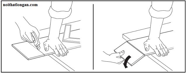 Thực hiện cắt ghép bằng dao rọc giấy, nên đặt ván lên trên vị trí khác cao hơn không làm ảnh hưởng mặt sàn.